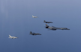 U.S. Air Force bomber conducts bilateral training missions with Japanese and South Korean Counterparts